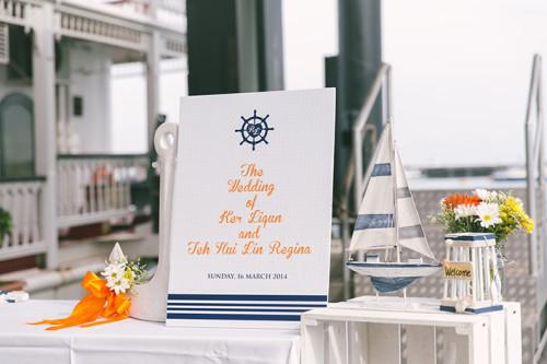 Cheerful nautical themed wedding at Stewords Riverboat, Marina South Pier (Liqun & Regina)