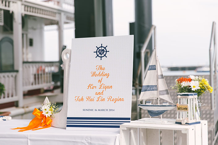 Cheerful nautical themed wedding at Stewords Riverboat, Marina South Pier (Liqun & Regina)