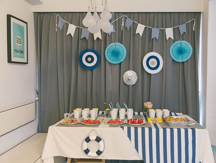 Nautical themed 1st month birthday baby shower_008