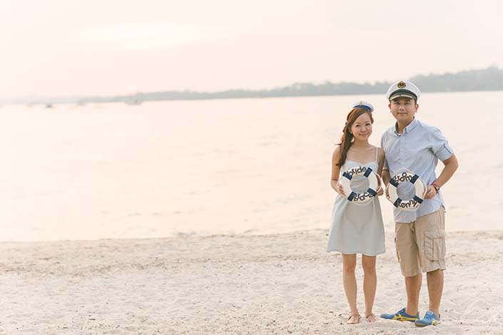 Pre-wedding nautical photoshoot at Changi Beach