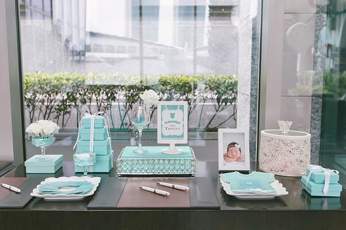 Tiffany blue themed baby shower party photography at for Baby shower decoration singapore