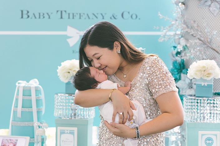 Tiffany blue-themed Baby Shower Party Photography at The Landing Point in Fullerton Bay Hotel