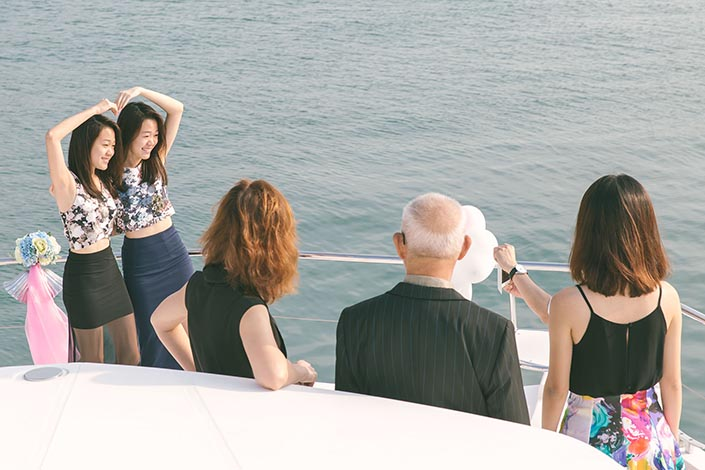 Wedding Day Photography on Blue Mountain Yacht at One Degree 15