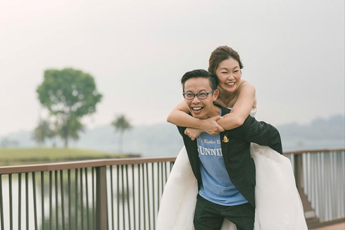 Running and Lego-themed Singapore Wedding Day Photography at Lower Seletar Reservoir - Couple shot