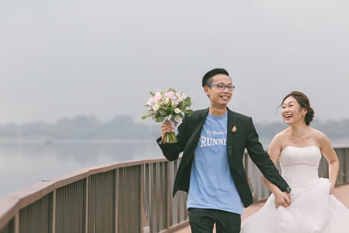 Running and Lego-themed Singapore Wedding Day Photography at Lower Seletar Reservoir