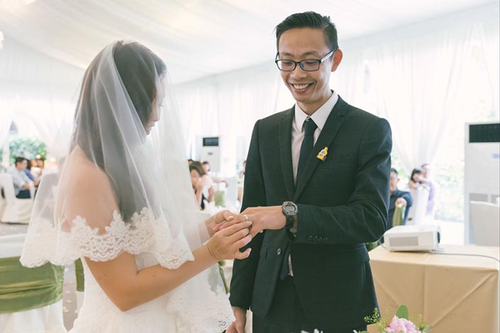 Running and Lego-themed Singapore Wedding Day Photography at Goodwood Park Hotel Tudor Courtyard - Solemnisation