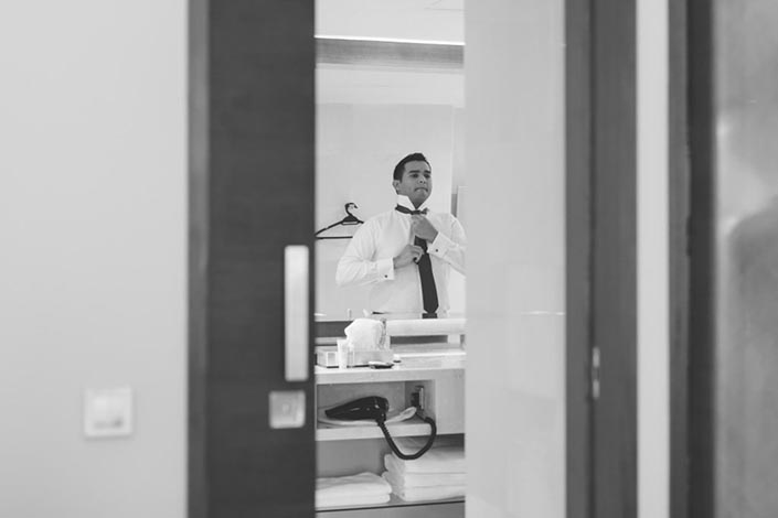 Singapore Wedding Day Photography at Grand Hyatt - Groom getting ready