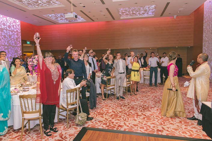 Singapore Wedding Day Photography at Grand Hyatt - Toasting