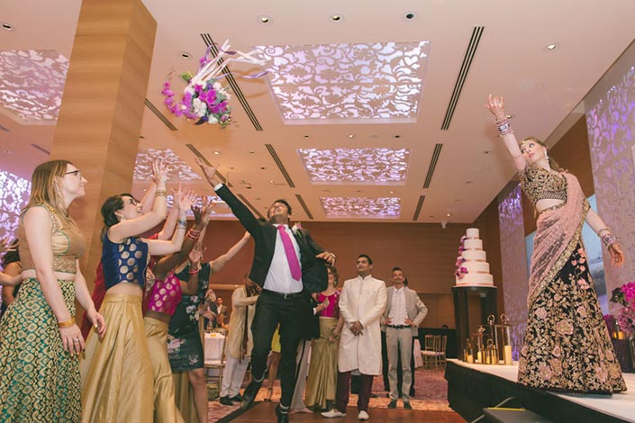 Singapore Wedding Day Photography at Grand Hyatt - Bouquet toss