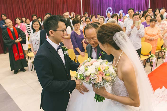 Singapore Wedding Day Photography Bride Handover at Carmel Presbyterian Church