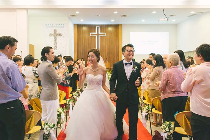 Singapore Wedding Day Photography March Out at Carmel Presbyterian Church