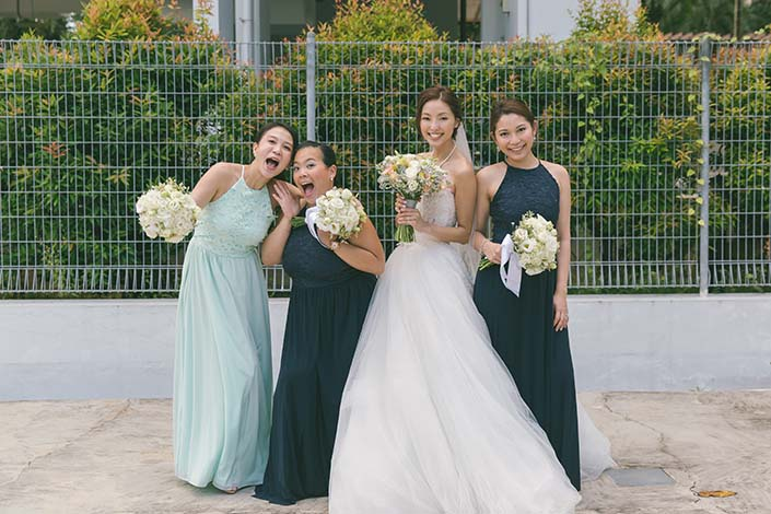 Singapore Wedding Day Photography Bride and Bridesmaids at Carmel Presbyterian Church