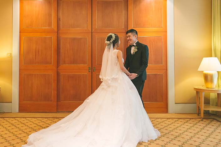 Singapore Wedding Day Photography First Look at Conrad Centennial