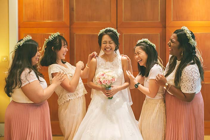 Singapore Wedding Day Photography Bride and Bridesmaids at Conrad Centennial