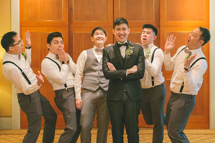 Singapore Wedding Day Photography Groom and Groomsmen at Conrad Centennial
