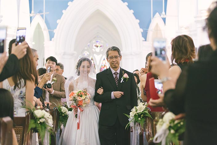 Singapore Wedding Actual Day Photography at St Andrews Cathedral (March in)