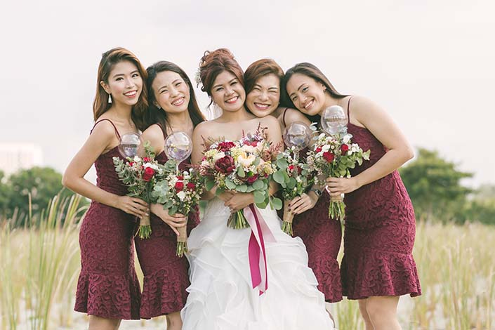 Singapore Wedding Day Photography Bride and Bridesmaids at Lorong Halus