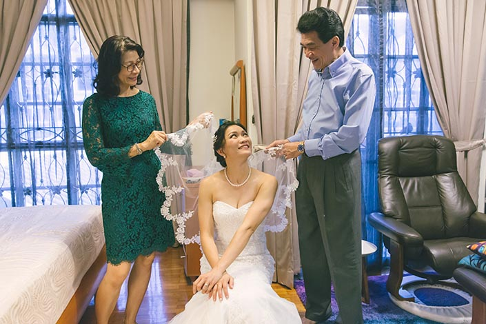 Actual Wedding Day Photography Singapore (Veiling of Bride)