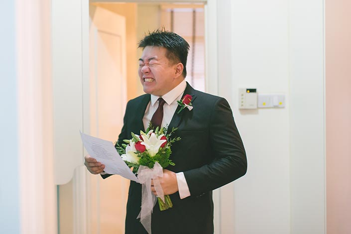 Actual Wedding Day Photography Singapore (Groom emotions)