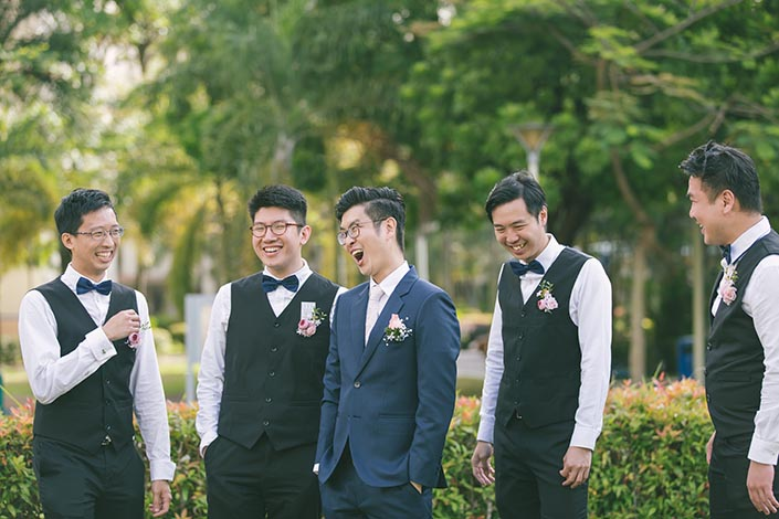 Singapore Actual Wedding Day Photography at Woodlands Admiral Garden (Groom and groosmen)
