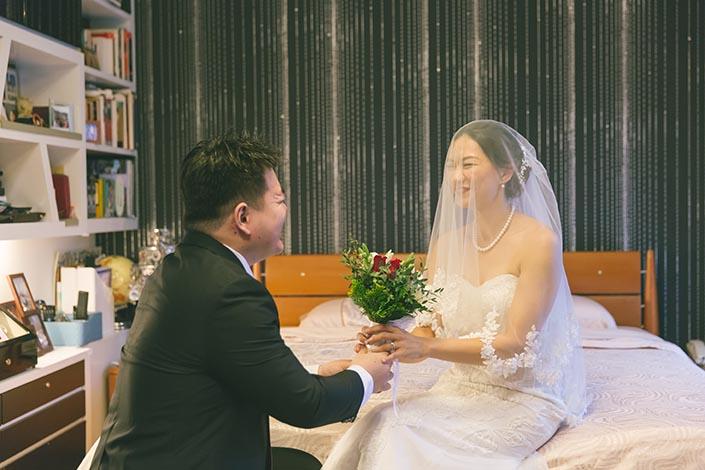 Actual Wedding Day Photography Singapore (Groom receiving Bride)