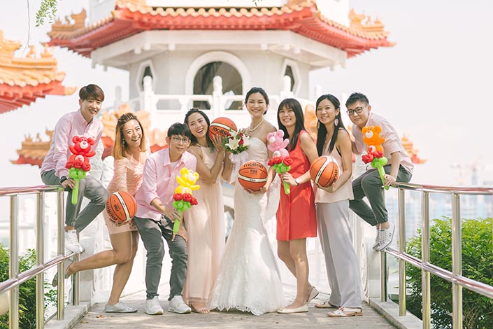Actual Wedding Day Photography Singapore (Bridal party at Chinese Gardens)