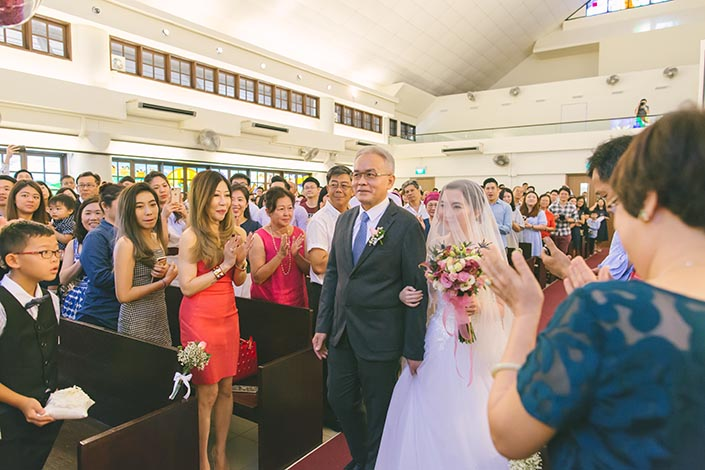 Singapore Actual Wedding Day Church Photography at Bedok Lutheran Church (March in)