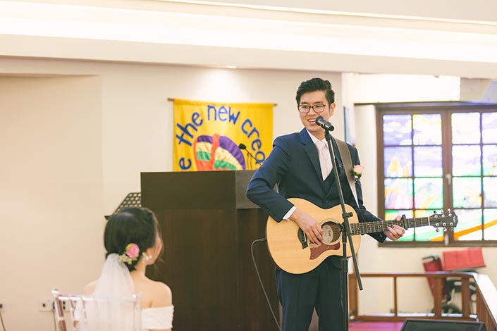 Singapore Actual Wedding Day Church Photography at Bedok Lutheran Church (Surprise performance)