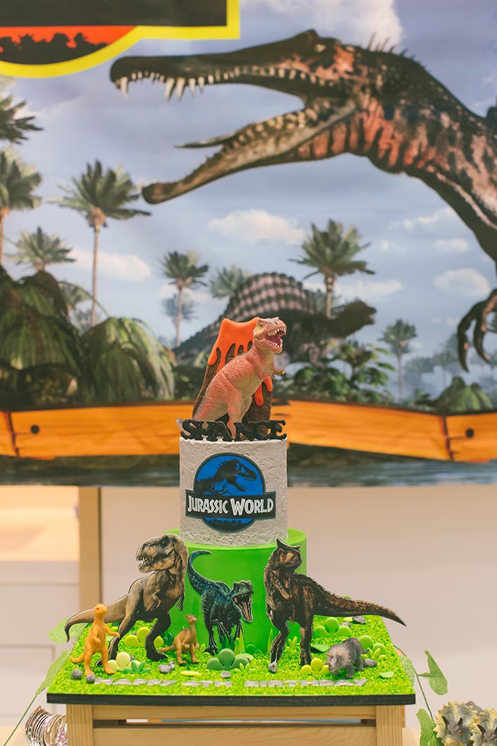 Celebrate with Cake dinosaur-themed birthday cake