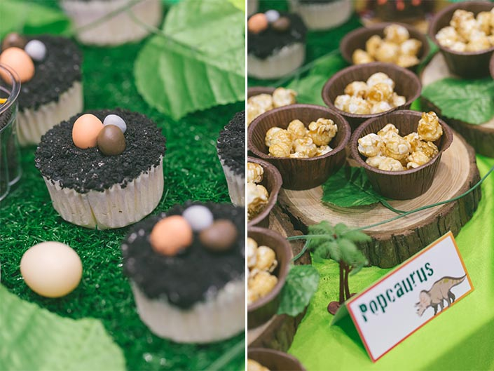 Celebrate with Cake dinosaur-themed dessert table