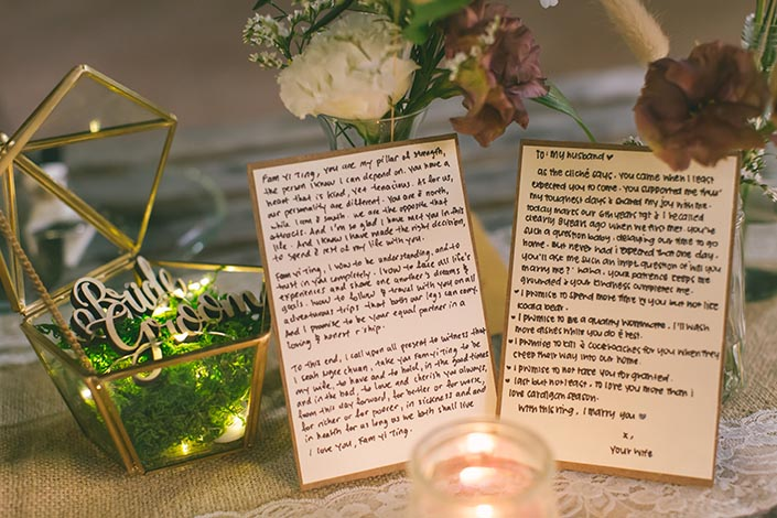 Wedding vow cards